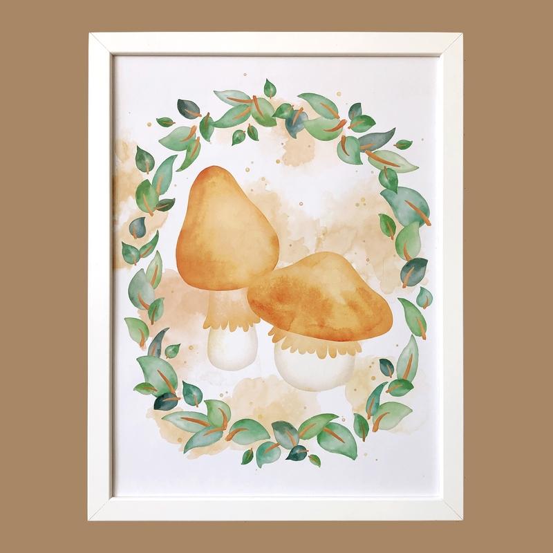 Poster 'Mushrooms & Leaves' 30x40cm