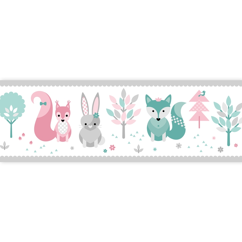 Wall Border 'Forest Animals' Pink/Mint Self-adhesive