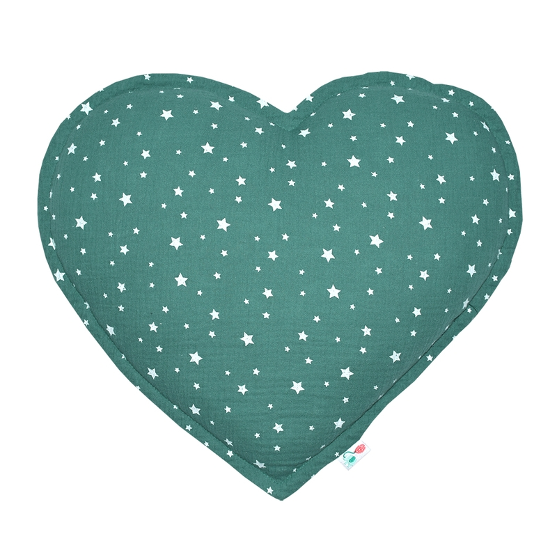 Cushion 'Heart' Muslin Jade 35cm