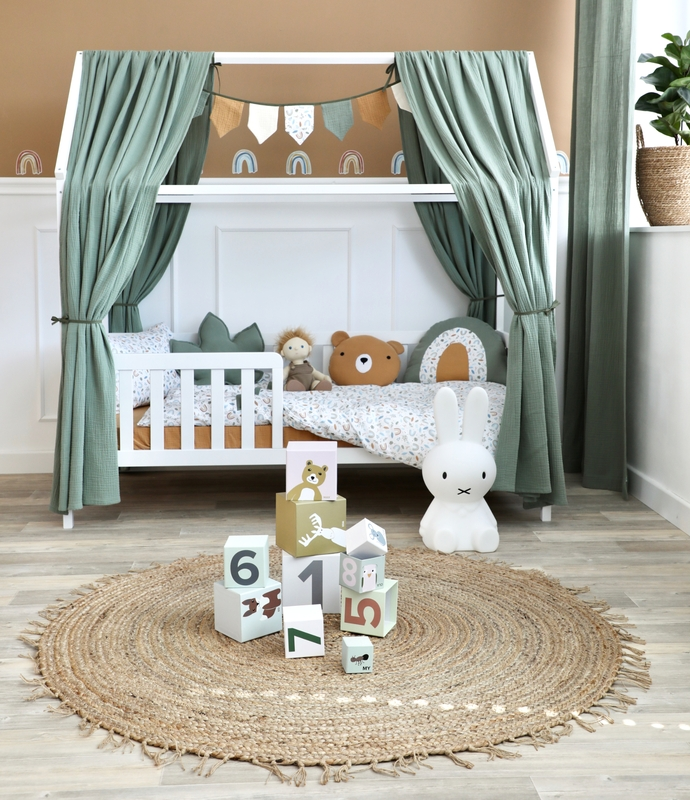 Kidsroom with house bed in warm tones