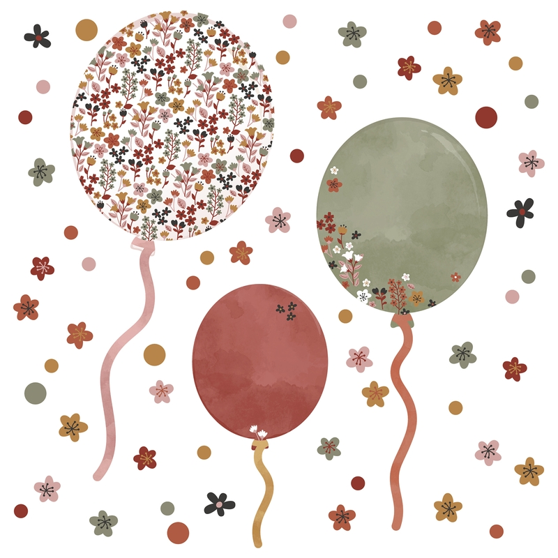 Wandsticker aus Stoff 'Blumen-Luftballons' rostrot