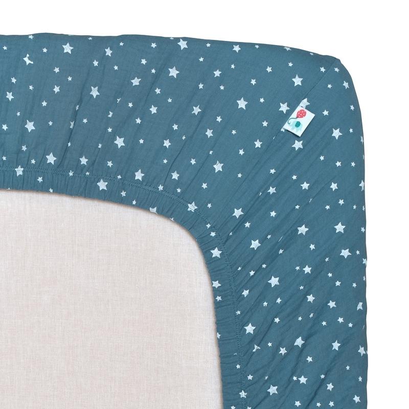 Fitted Sheet 'Stars' Muslin Smokey Blue 70x140cm