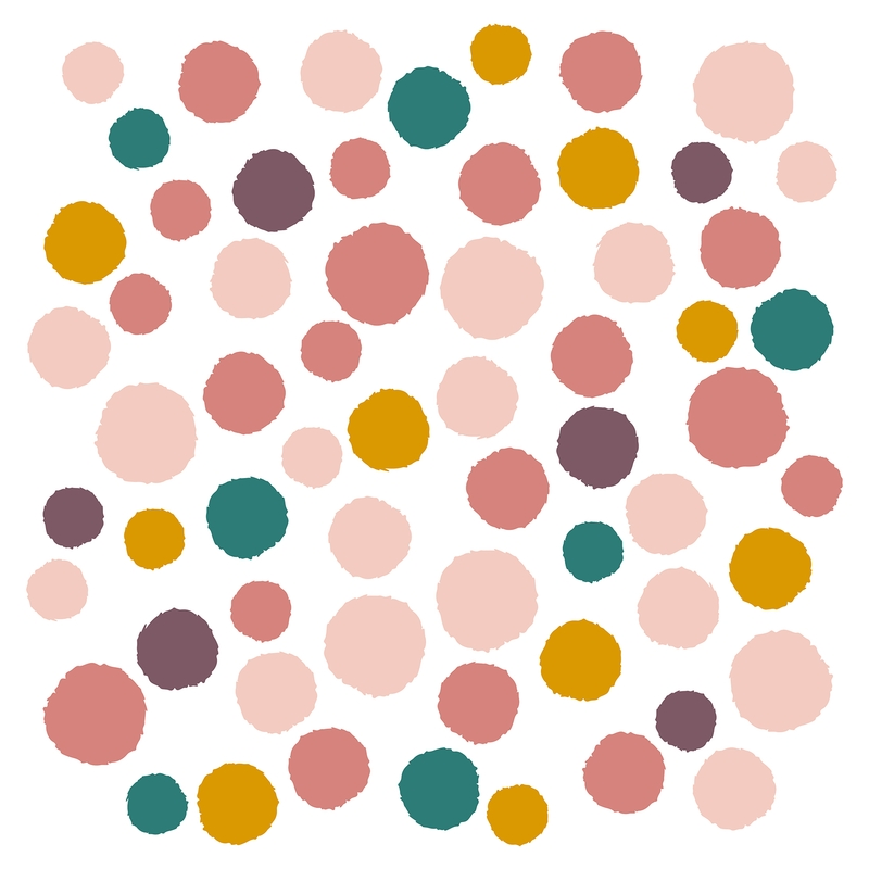 Wall Stickers 'Dots' Pink/Mustard
