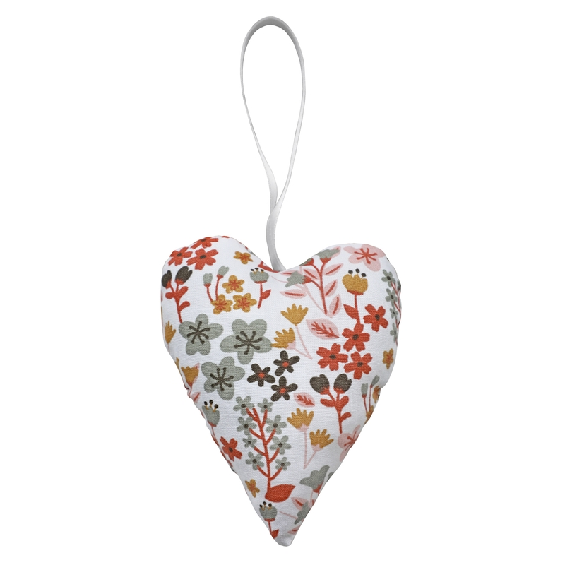 Heart Shaped Pendant 'Flowers' Rusty Red 10cm