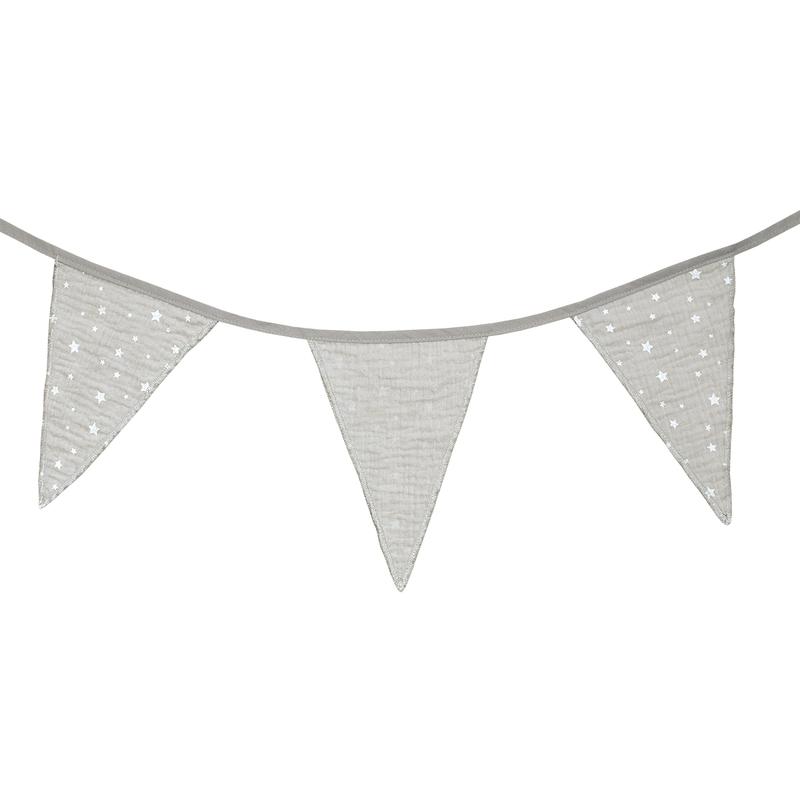 Garland 'Stars' Muslin Light Grey 300cm