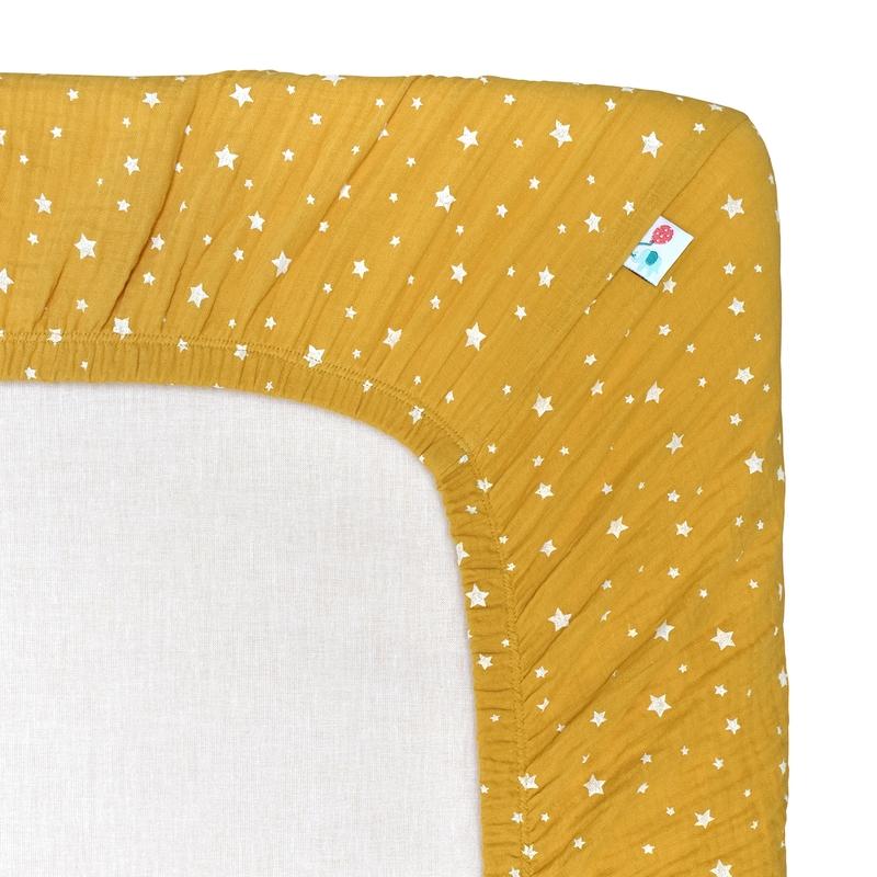 Spannbettlaken 'Sterne' Musselin senfgelb 70x140cm