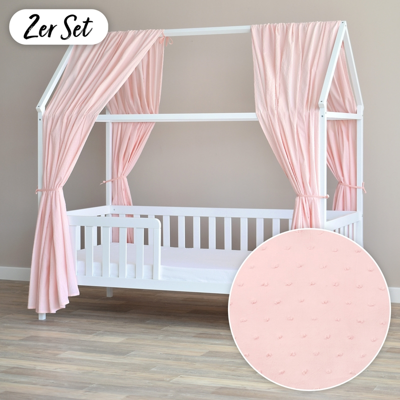 House Bed Canopy Set Of 2 '3D Dots' Light Pink 350cm