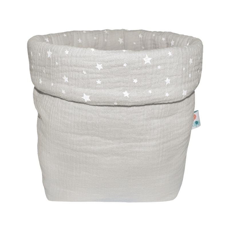 Storage Basket Muslin Light Grey 19cm
