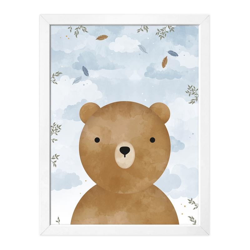 Poster 'Bär' pastellblau/camel 30x40cm