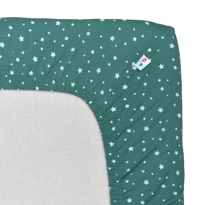 Fitted Sheet 'Stars' Muslin Jade 70x140cm