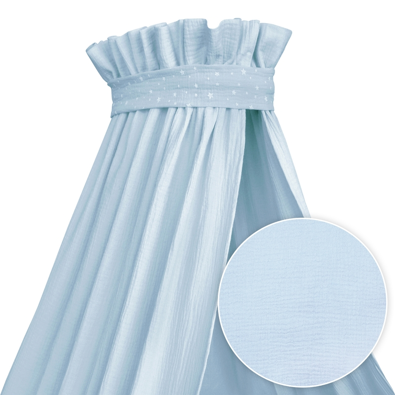 Baby Bed Canopy Muslin Pastel Blue