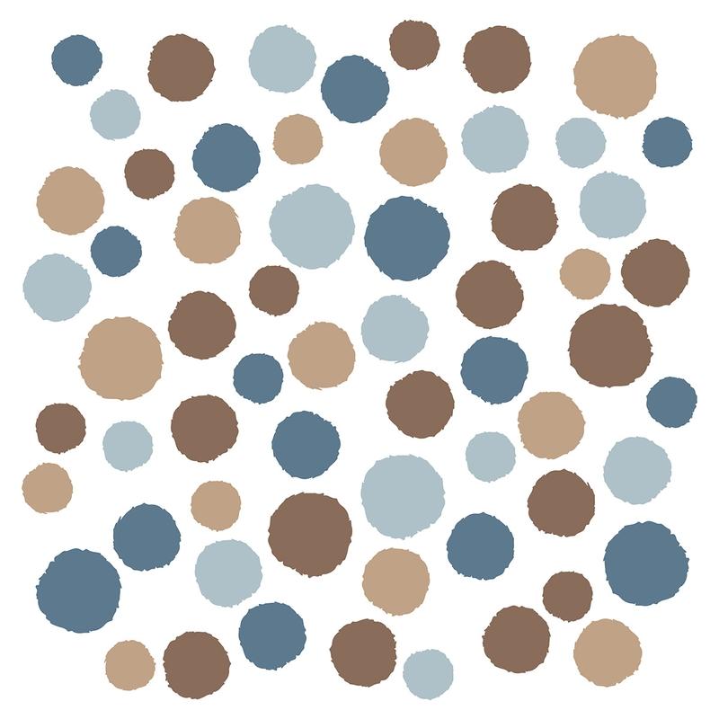 Wandsticker 'Punkte' blau/beige 62-tlg.