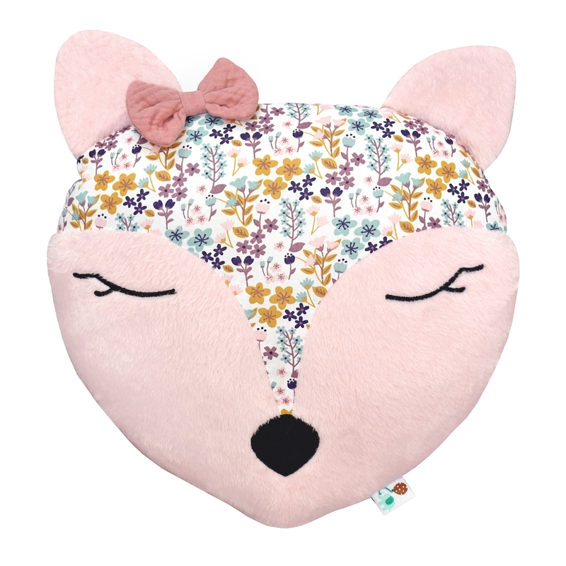 Cushion with Embroidery 'Flower Deer' Light Pink 35cm