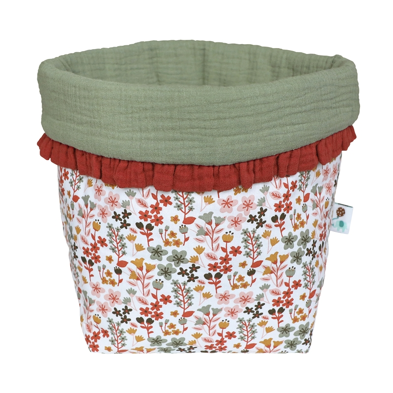 Fabric Basket With Ruffles 'Flowers' 33cm