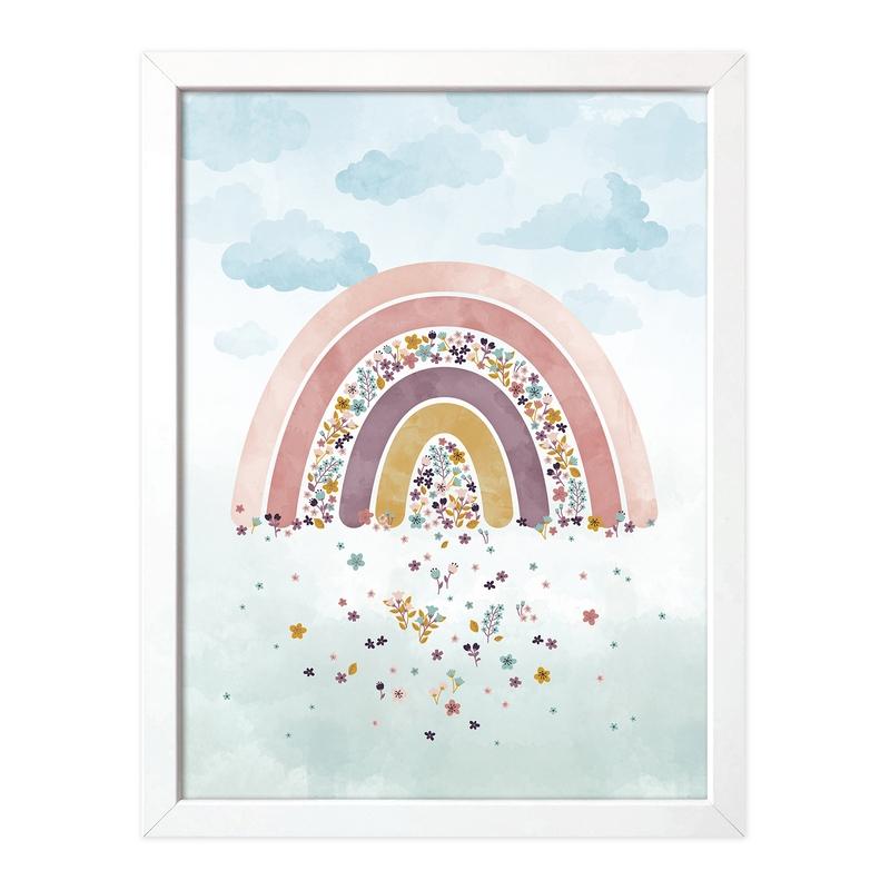 Poster 'Blumen-Regenbogen' Pastell 30x40cm