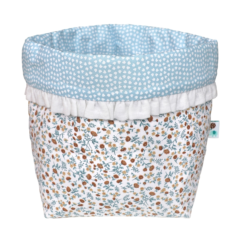 Fabric Basket With Ruffles 'Buttercup' Blue